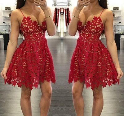 Camisole Neckline Short Lace Red Homecoming Dresses,Party Dresses,Pretty Short