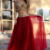 Gold Lace Appliqued Two Piece Prom Dresses,Red Tulle Long Party Pageant Dresses,