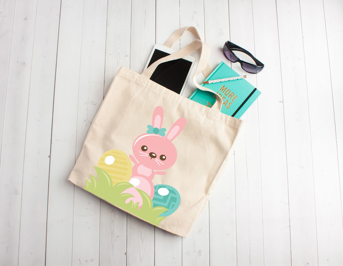 Girl bunny, girl easter gift, easter tote bag, personalized kids party favors,