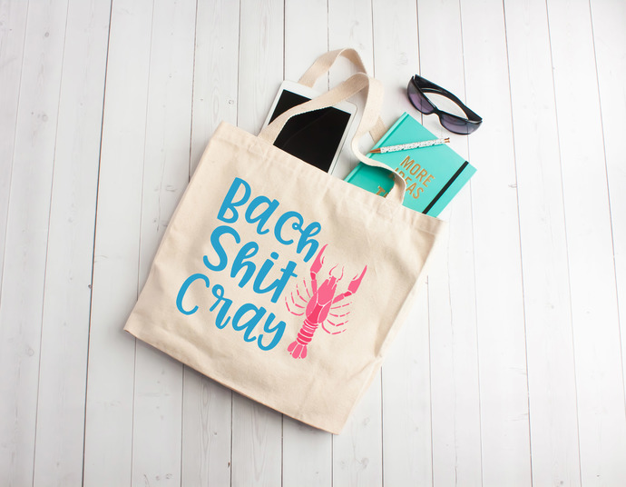 Bach Shit Cray Personalized Tote Bag Custom Tote Bags Bachelorette Party Bags Louisiana Bachelorette Mardi Gras
