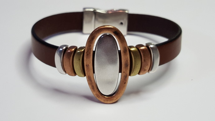 Euro Italian Leather Bracelet, Item #2421