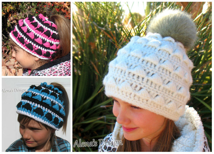 Crochet Pattern 40 Colored Ponytail Hat By AlenasDesign On Zibbet Magnificent Ponytail Beanie Crochet Pattern