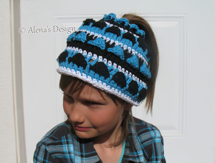 Crochet Pattern 182 Colored Ponytail Hat Messy Bun Hat Crochet Patterns Toddler