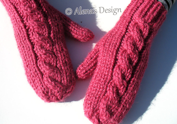 Cabled Mittens For All in seven sizes Knitting Pattern 202 Toddler Child Teen