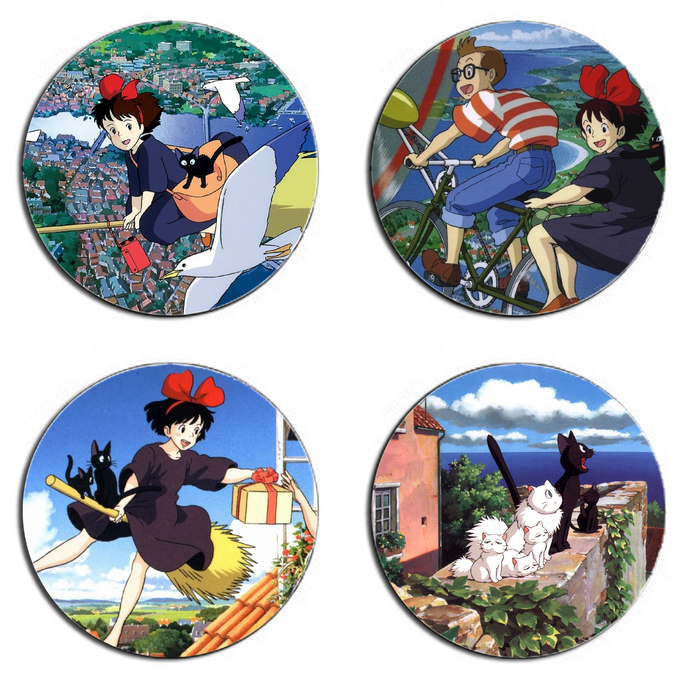 Kiki's Delivery Service One Set wooden Drink Coasters