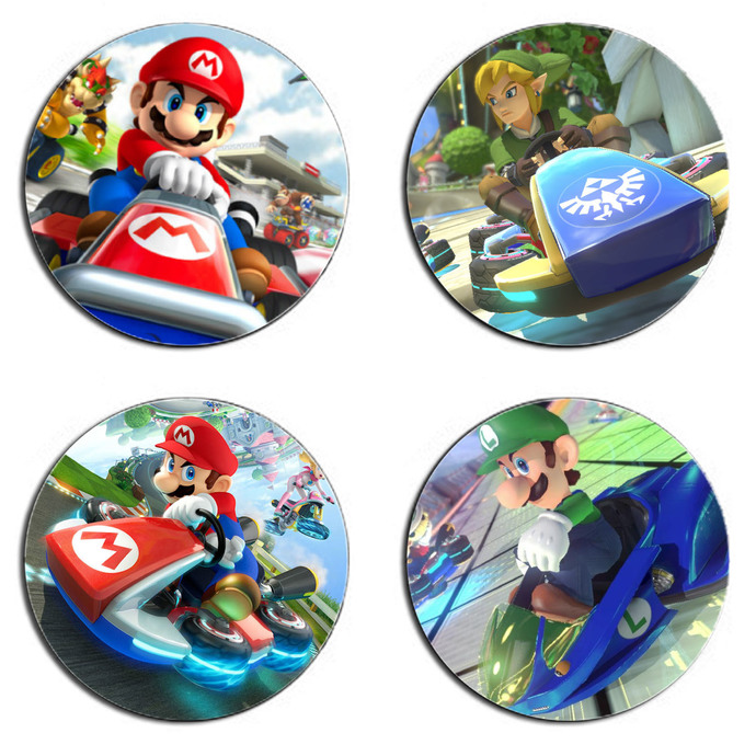 Mario Kart One Set wooden Drink Coasters