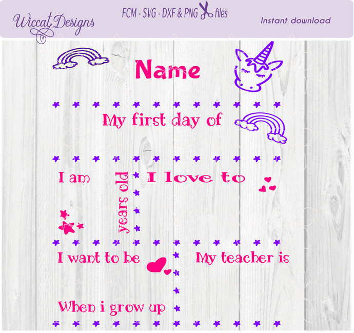 back to school unicorn svg template svg by wiccatdesigns on zibbet