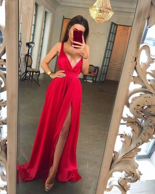 Sexy Red Prom Dress with Slit,Cheap V Neck Prom Dresses, Formal Women