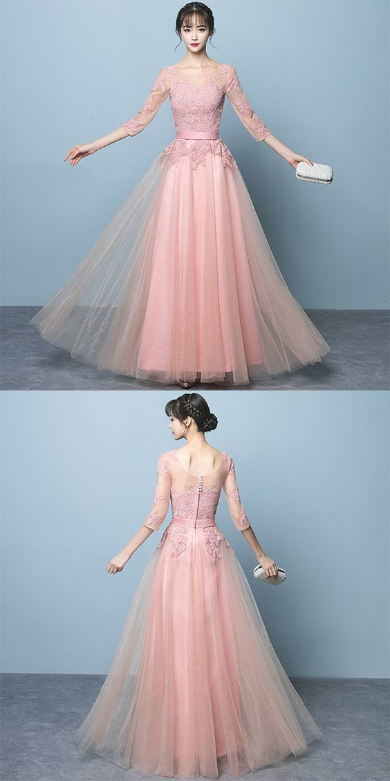 Pink lace long prom dress, long sleeve evening dress,Tulle Evening Dress, Formal
