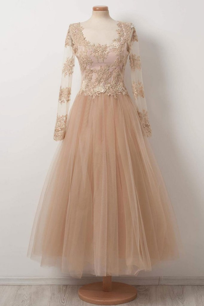 CHAMPAGNE TULLE LACE PROM DRESS, CHAMPAGNE EVENING DRESS, Formal Women