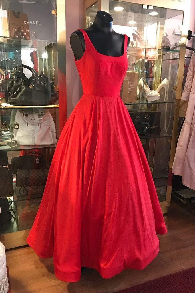 SIMPLE RED TEA LENGTH PROM DRESS, RED EVENING DRESS,830340