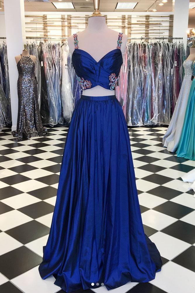 d882ec33fb7 Royal Blue Two Pieces Long Prom Dress