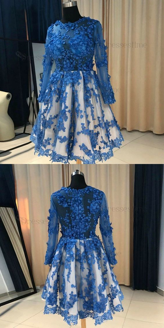 c05186b1ff4 A-Line Round Neck Long Sleeves Royal Blue Short Homecoming Dress with