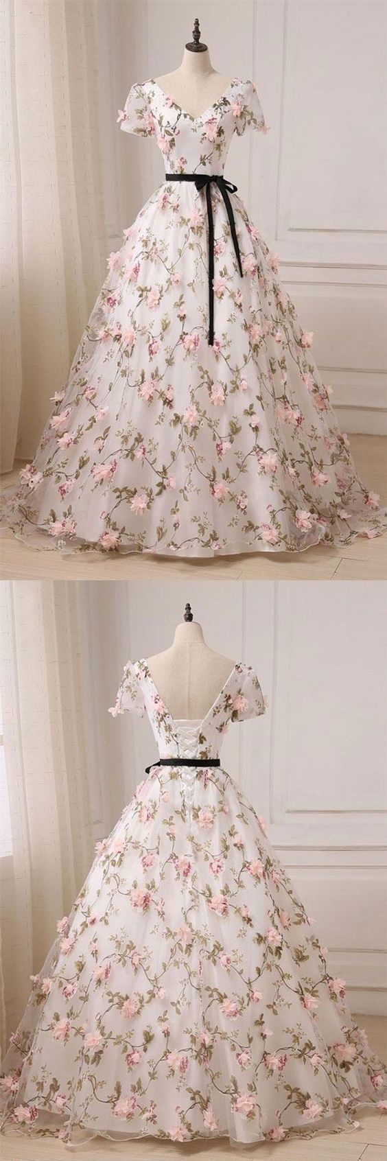 Floral Prom Dress,Short Sleeve Prom Dress,Tulle Evening Dress, Formal Women
