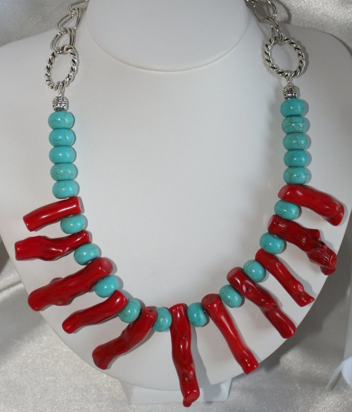 Red Branch Coral Statement Necklace, Blue Turquoise Tribal Bib Necklace, Bold