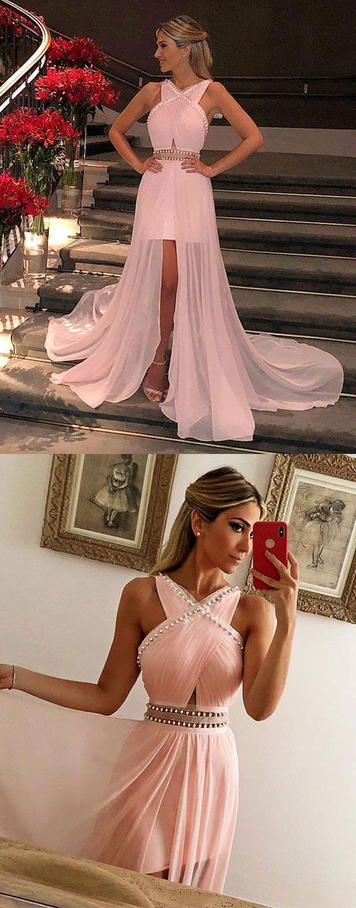 Beautiful Pink Chiffon Prom Dresses Pleated Party Gowns with Pearls,Cheap