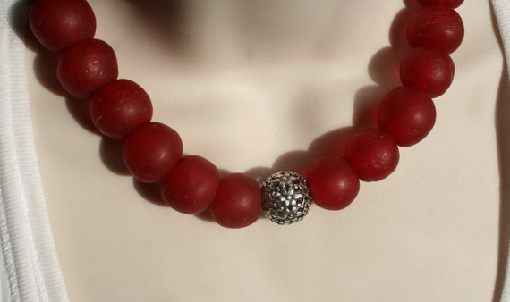 African Recycled Glass Bead Statement Necklace, Tibetan Silver with Handmade Red