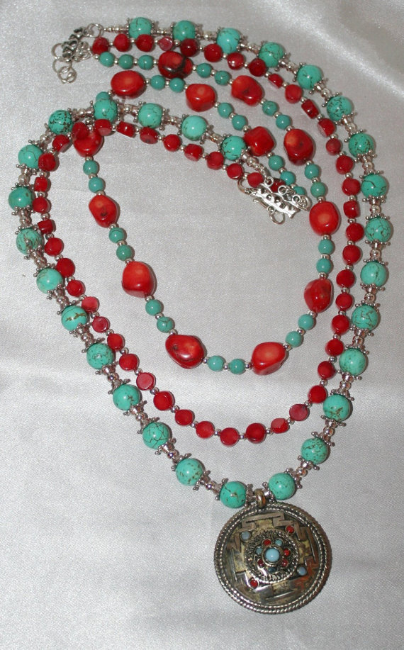 Turquoise Beaded Amulet Pendant Statement Necklace, Bold Red Coral Tibetan