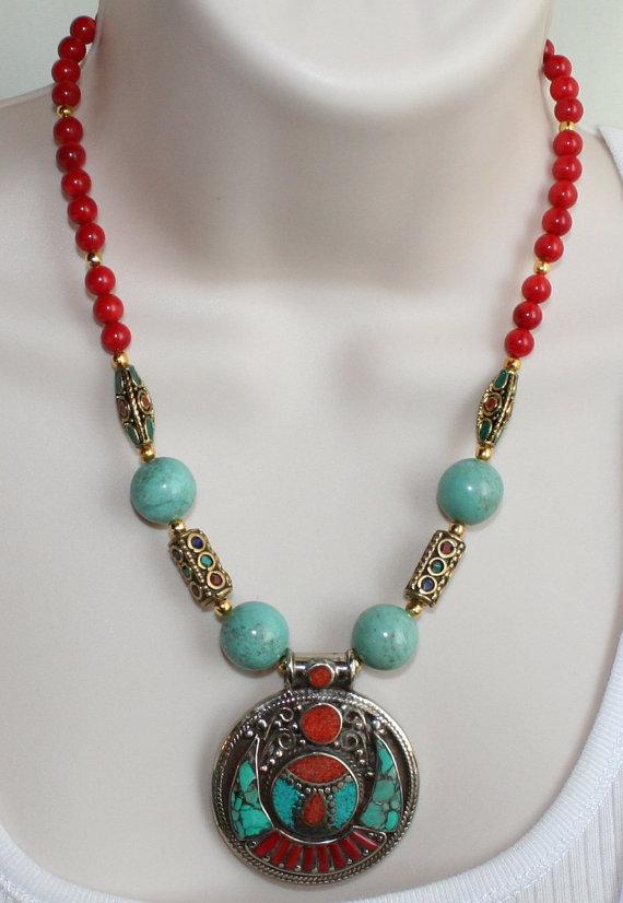 Tibetan Nepalese Pendant Statement Necklace, Tribal Handmade Indonesia Beads,