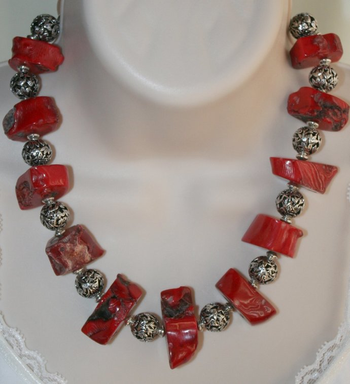 Chunky Raw Red Bamboo Coral Statement Necklace, Ethnic Tribal Jewelry