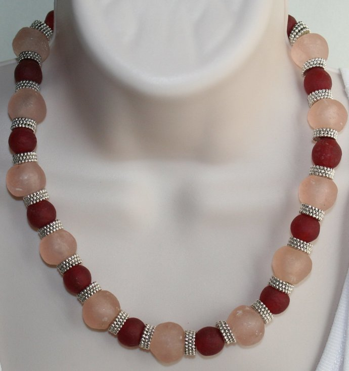 African Recycled Rose Glass Statement Necklace, Chunky Tribal Style Jewelry,
