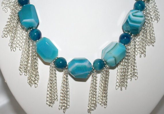Chunky Blue Agate Statement Necklace, Big Bold Nugget Jewelry, Silver Plated