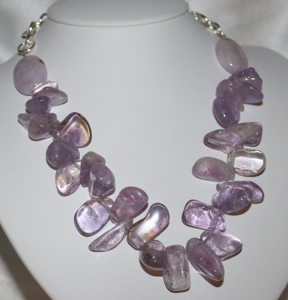 Chunky Amethyst Nugget Statement Necklace, Natural Purple Semi Precious Stone