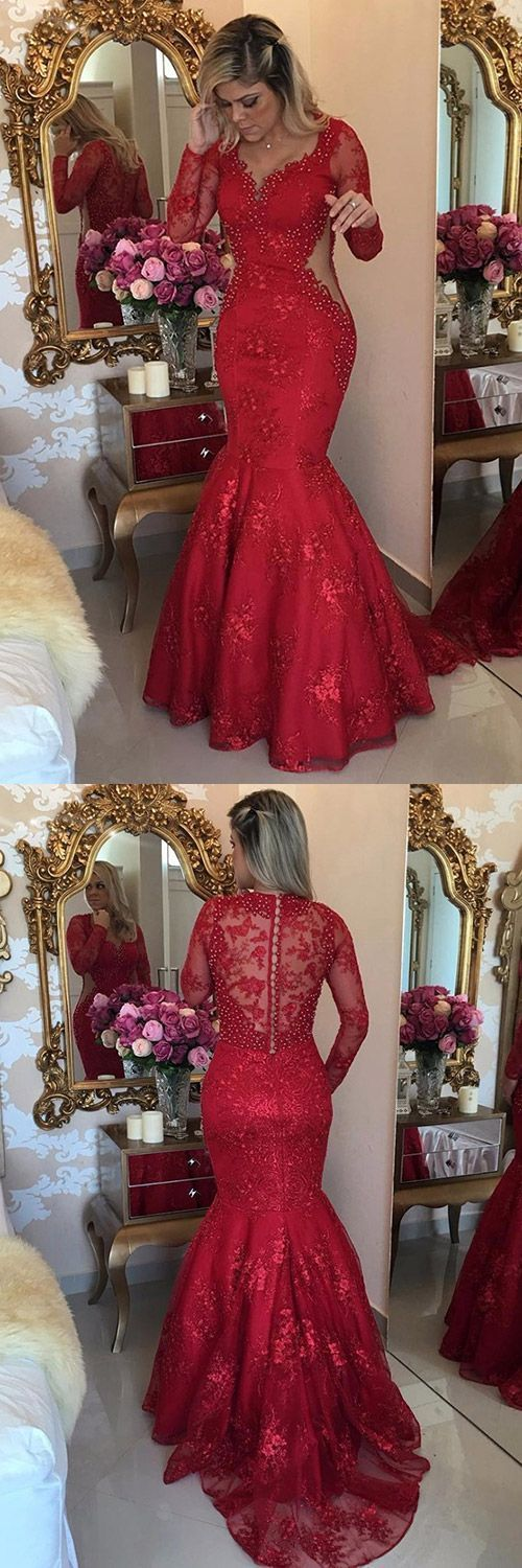 Mermaid V-neck Tulle Sweep Train Appliques Lace Red Long Sleeve Prom Dresses,Red