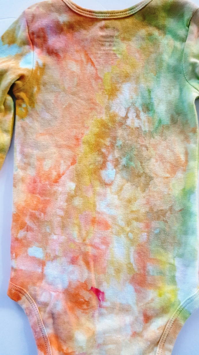 Baby's Bodysuit - Long Sleeved Ice-dyed  Toddler's Bodysuit  - Size 6 to 12