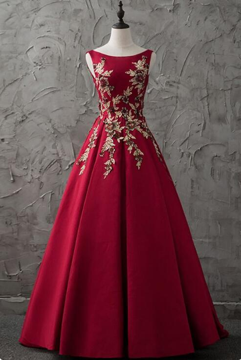 2018 New Burgundy Satin Modest Prom Dress Party By Dresses