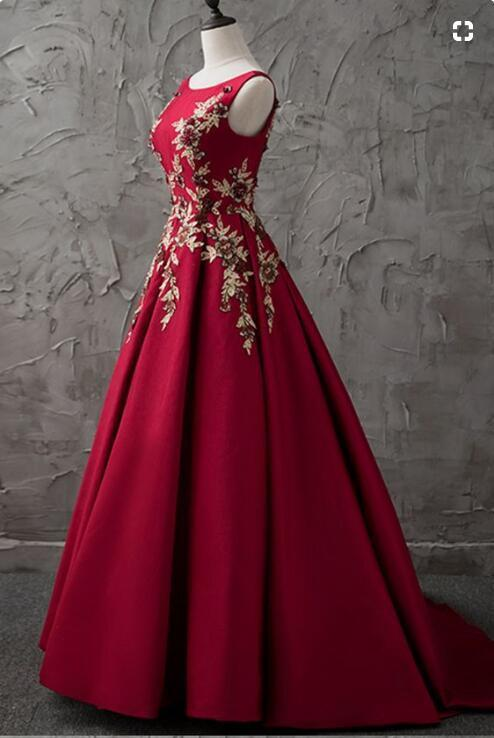 new burgundy satin modest prom dress party dresses
