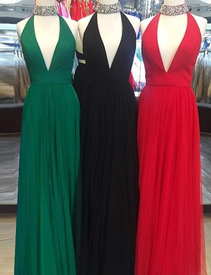 Charming A Line Halter Sleeveless Long Red Prom Evening Dress with Beading