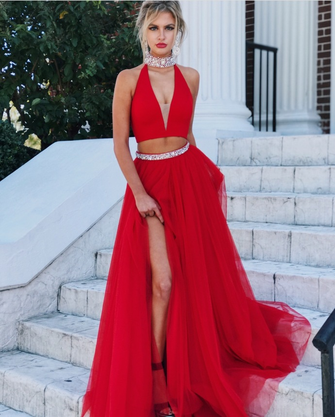 Red Evening Gowns,Two Piece Prom Dress,High Neck Prom Dress,Tulle Prom