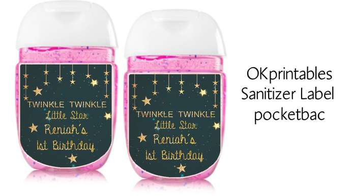Twinkle Twinkle Little Star Navy and Gold sanitizer labels, sanitizer label 1oz,