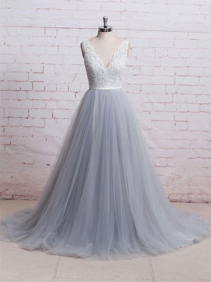 62484a65a0d21 A-line V-neck Ivory Lace Bodice Grey Tulle Skirt Chapel Train Wedding  Dresses