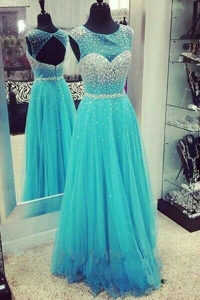 Charming Prom Dress,Blue Prom Dress,Organza Prom Dress,Backless Prom