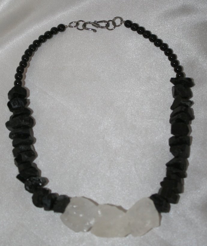 Raw Natural Chunky Black Tourmaline Nugget Statement Necklace, Crystal Necklace,