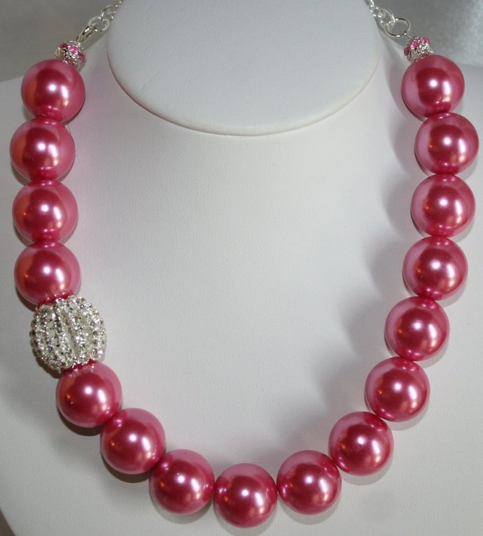 Bold Chunky Pink Pearl Statement Necklace, Hot Pink Large Pearl Bridal Necklace,