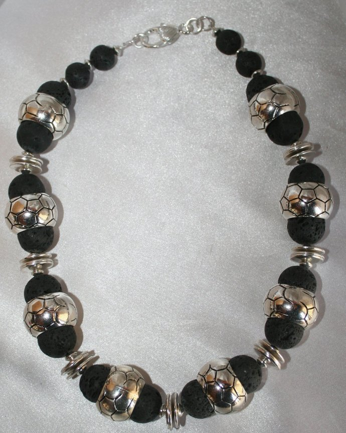 Ethnic Tribal Style Genuine Black Lava Stone and Antique Silver Beaded Necklace
