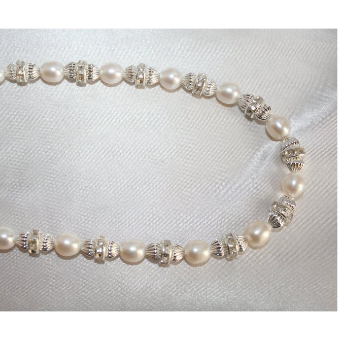 Quality Freshwater Pearl Wedding Statement Necklace, Rhinestone and Pearl