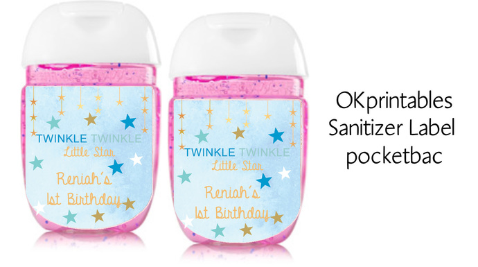 Custom Twinkle Twinkle Little Star Baby Blue and Gold sanitizer labels,