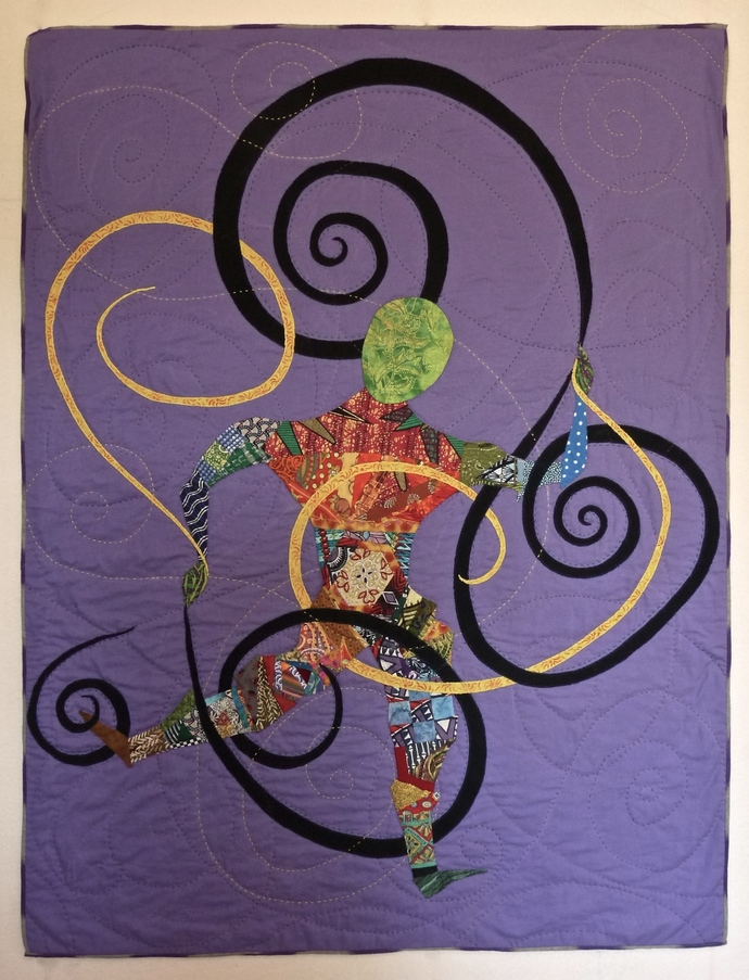 "Dancing Through the Hoops, an art quilt 45""x59"""