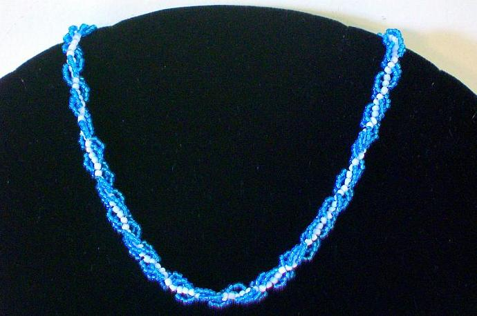 Handwoven Turquoise & White Seed Bead Spiral Necklace