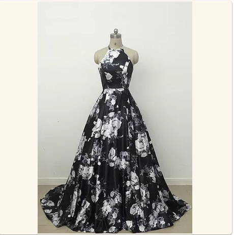 Cute black and white floral satin halte prom by prom dresses on Zibbet
