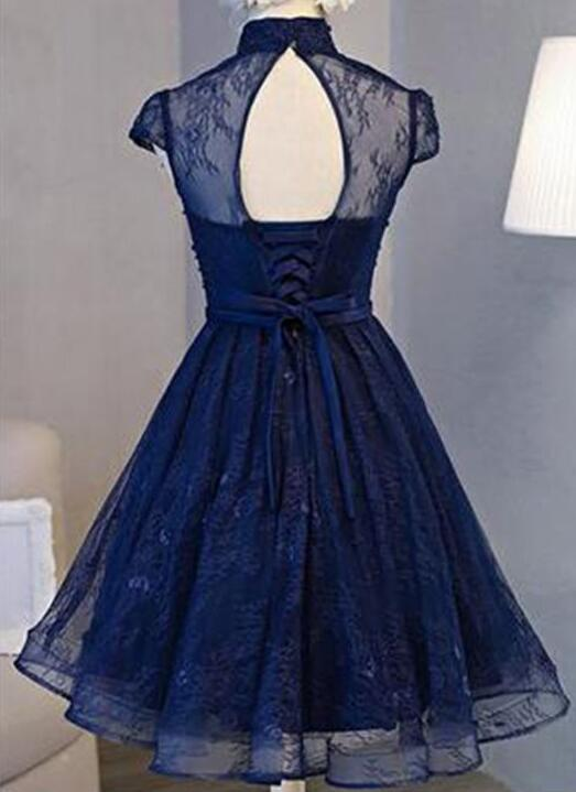 Retro A-line High Neck Short Sleeve Knee-length Navy Blue Lace Homecoming Dress