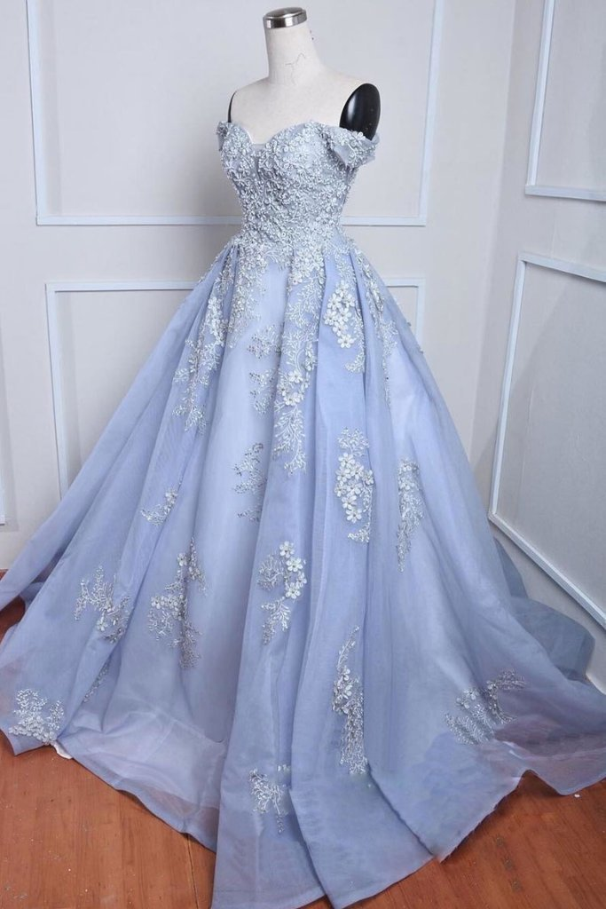 BLUE OFF SHOULDER TULLE LACE APPLIQUE LONG PROM by dresses on Zibbet