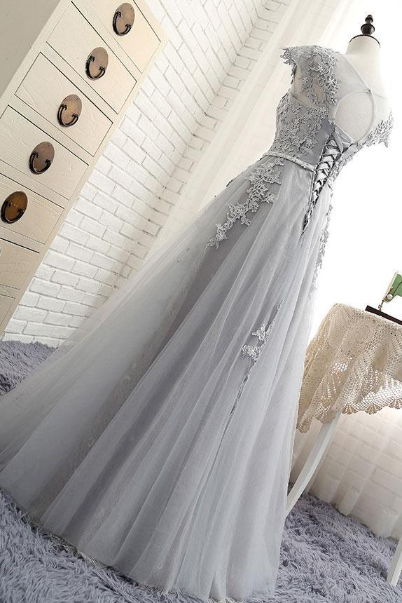 GRAY ROUND NECK LACE APPLIQUE LONG PROM DRESS, GRAY EVENING DRESS