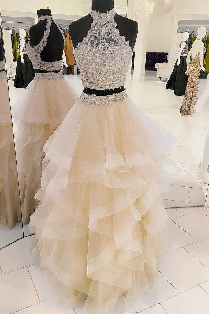 CHAMPAGNE TULLE TWO PIECES LONG PROM DRESS, CHAMPAGNE EVENING DRESS