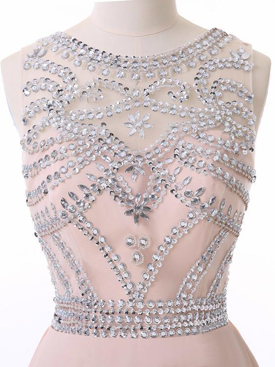 PEARL PINK LONG PROM DRESSES SCOOP BEADING PROM DRESS EVENING DRESSES
