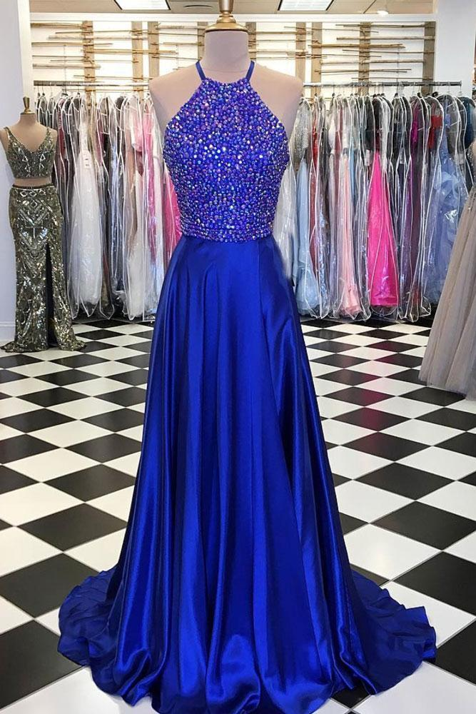 BLUE A-LINE BEADS LONG PROM DRESS, BLUE EVENING DRESS